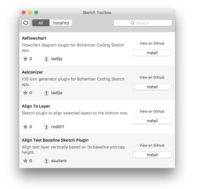 Sketch Toolbox auf dem Mac installiert Plugins mit einem Klick
