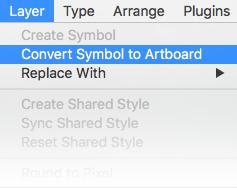 Umwandlung eines Symbols in ein Artboard