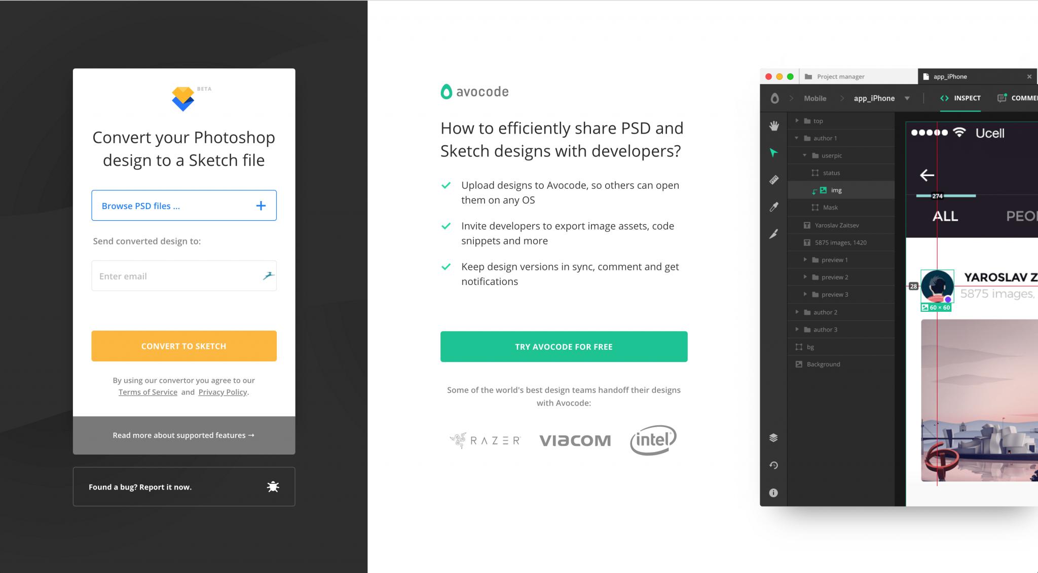 Auf der Avocode-Website kannst du PSD in Sketch verwandeln