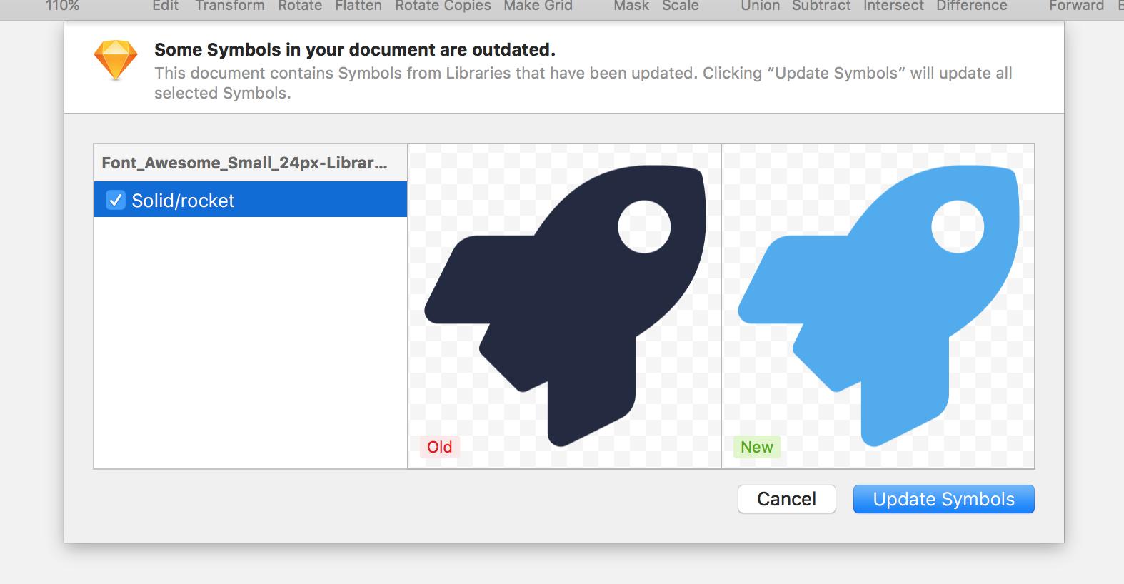 Wähle aus, ob du die neue oder alte Version deines Library Symbols behalten möchtest