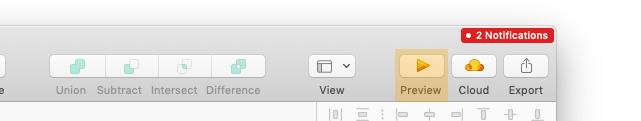 Preview Button in der Werkzeugleiste