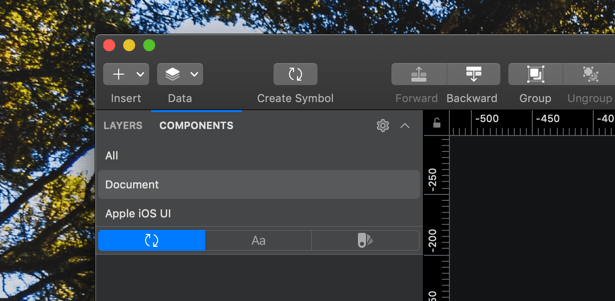 Die Komponenten-Übersich (Components Panel) in Sketch 60 dark mode