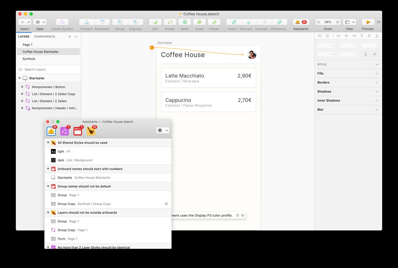 Sketch Assistants geben Hinweise auf Feheler und überprüfen dein Design in Sketch