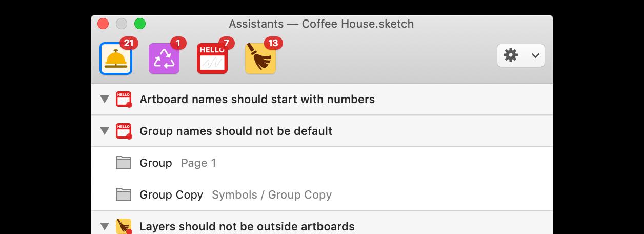 Das Sketch Assistants Fenster zeigt die aktiven Assitants und ihre Hinweise